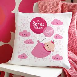 - Kız Bebeğe İsme Özel Hediyelik Yastık