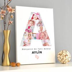- Kız Bebeğe Özel Fotoğraflı Harf Kanvas Tablo