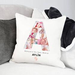 - Kız Bebeklere Özel Fotoğraflı Harf Yastık