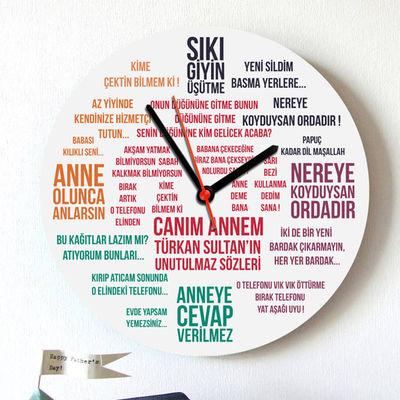 - Klasik Anne Sözleri Duvar Saati