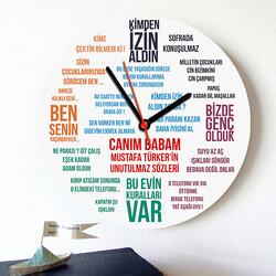 - Klasik Baba Sözleri Duvar Saati