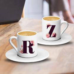 - Lale Desenli Harfli İkili Kahve Fincanı