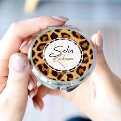 - Leopar Tasarımlı İsimli Makyaj Aynası