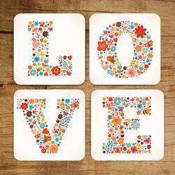 - Love Bardak Altlığı 4lü Set