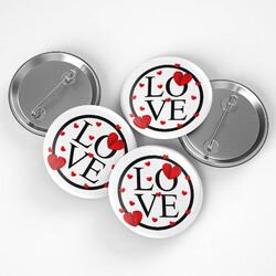 - Love Tasarımlı Romantik Rozet