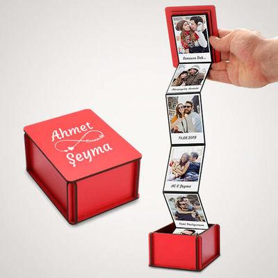 - Mesaj ve Fotoğraf Baskılı Kırmızı Akordiyon Kutu