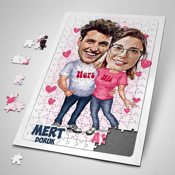 Mutlu Aşıklar Karikatürlü Puzzle