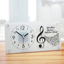 - Müzik Öğretmenine Hediye Cam Masa Saati