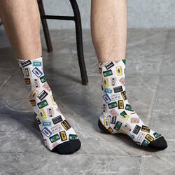 - Nostaljik Kaset Tasarımlı Erkek Çorabı