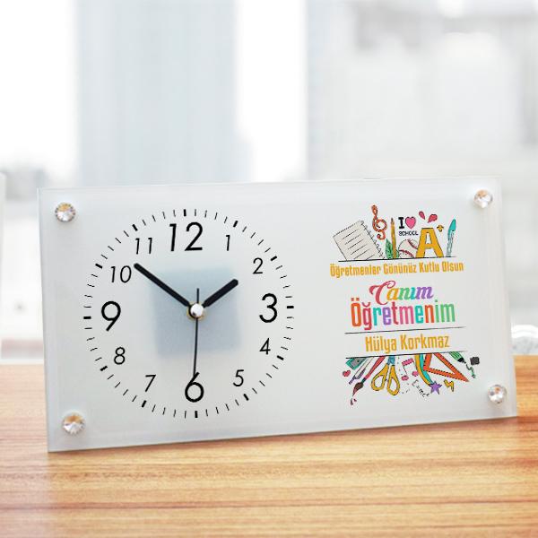 Öğretmenlere Hediye Cam Masa Saati