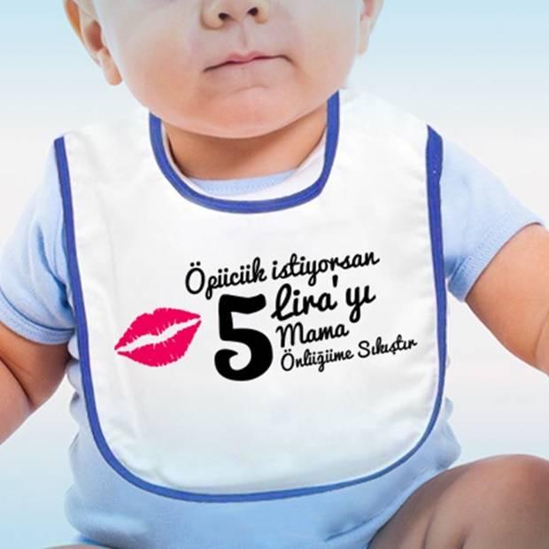 Öpücük Parayla Bebek Mama Önlüğü