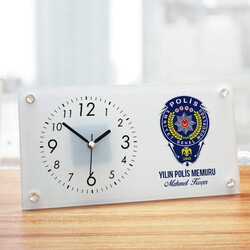 - Polis Armalı İsme Özel Cam Masa Saati