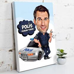 - Polis İçin Karikatürlü Kanvas Tablo