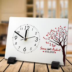 - Sevgililere Özel Aşk Ağacımız Masa Saati
