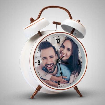 - Sevgililere Özel Fotoğraflı Çalar Saat BEYAZ