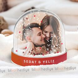Sevgiliye Hediye Fotoğraflı Kar Küresi - Thumbnail