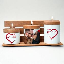 - Sevgiliye Hediye Love Fotoğraflı Mumluk Seti
