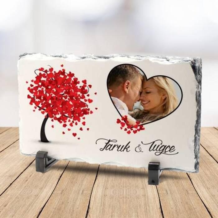 Sevgiliye Özel Fotoğraflı Taş Baskı