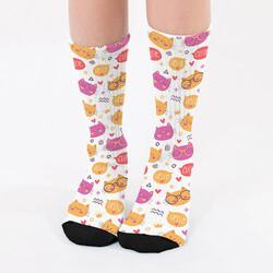 - Sevimli Kedi Desenli Çorap