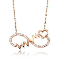 - Sonsuzluk Kalp Ritmi Gümüş Kolye