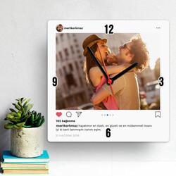- Sosyal Medya Tasarımlı Kare Duvar Saati