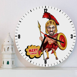 - Spartalı Asker Karikatürlü Duvar Saati