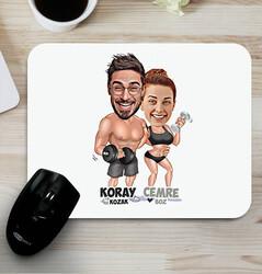 - Sporcu Çiftler Karikatürlü Mouse Pad