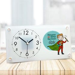 - Süper Erkek Öğretmen Cam Masa Saati