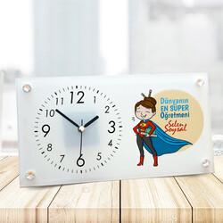 - Süper Kadın Öğretmen Cam Masa Saati