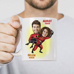 - Süper Kahraman Sevgililer Karikatürlü Kupa Bardak