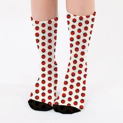 - Uğur Böcekleri Tasarımlı Kadın Çorabı