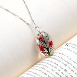 - Yaşayan Kırmızı Elips Çiçek Kolye YK220