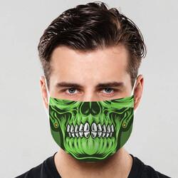 - Yeşil Kuru Kafa Tasarım Ağız Maskesi