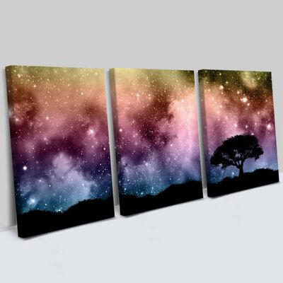 - Yıldızlar Tasarımlı 3 Parça Kanvas Tablo