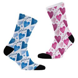 - Yoğun Kalpler İsme Özel 2li Çorap Seti