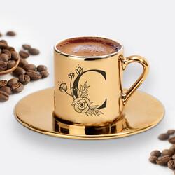 - Zarif Baş Harfli Gold Kahve Fincanı